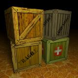 3D Model - 4 Free Crate Box Models
