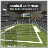 3D Model - Football Collection Open End Zone Stadium 3 Tier